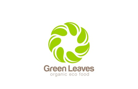 Infinite Green Eco Logo design looped leaf circle vector template. 