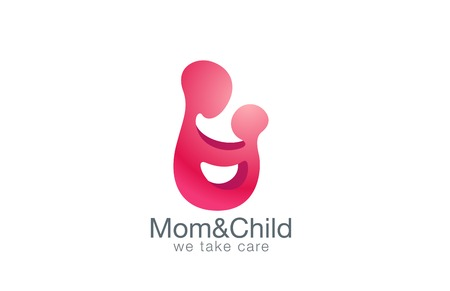Mother holding hands with child logo design vector template.