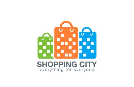 web store: Shopping Mall Logo design vector template.  Shopping Bags as Buildings silhouettes Logotype concept icon.