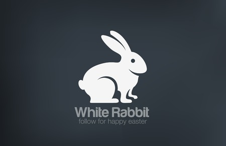 White Rabbit Logo design silhouette vector template.