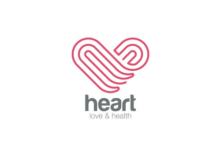 solid line: Logo Heart one line art design vector template.  Medicine, Pharmacy, Cardiology, Love, Dating Logotype concept icon.