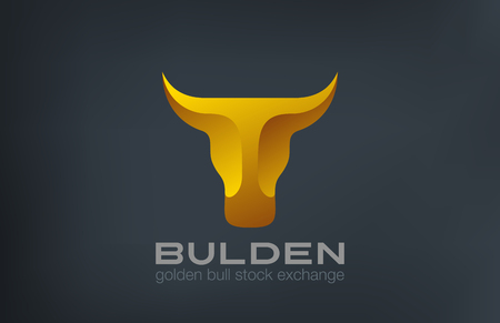 Golden Bull Head Logo design vector template.  Stock Exchange strategy 3d logotype concept icon.  Symbol of Power, Strength. Illustration