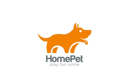 beautiful homes: Silhouette Dog Logo design vector template.  Home Pet shop logotype concept icon. Friend symbol.