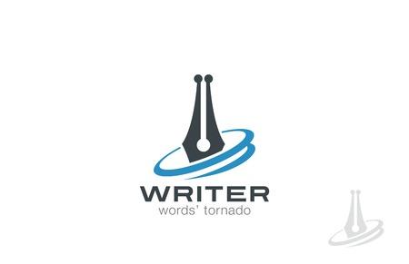 onderwijs: Writer Pen Logo ontwerp vector template. Law symbool. Juridische Advocaat Logotype concept pictogram.