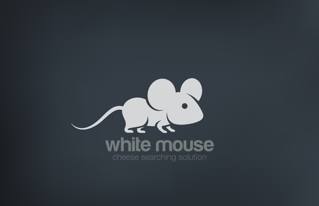 Abstract Cute Mouse Silhouette Logo design vector template.  Rat logotype concept icon. Ilustracja