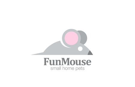 Abstract Funny Mouse Logo design vector template.  Cartoon rat logotype concept icon. Illusztráció