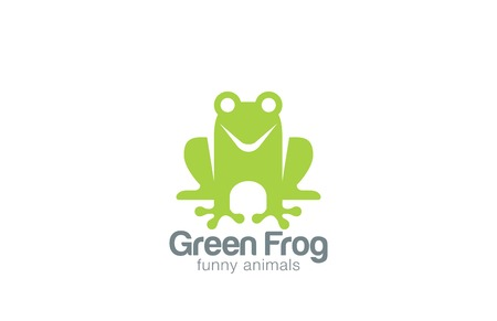 Green Frog Silhouette Logo design vector template.