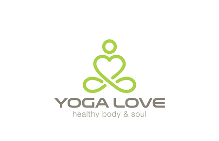 Yoga Logo design vector template. Heart shape inside.  Like Love yoga concept icon. Meditation SPA Logotype. Ilustração