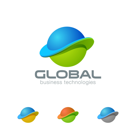 Global Planet Abstract Sphere Logo design template. Business Worldwide Web Media Network Logotype concept circle icon. E-commerce trade internet technology emblem Vectores