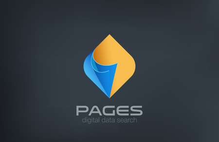 electronic guide: Open Pages Logo design vector template. Search data concept.  Guide reference manual compendium logotype idea icon.