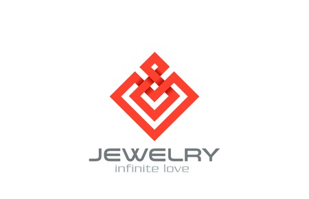 Infinity loop Abstract Square Rhombus Logo design vector template.  Jewelry, Luxury, Fashion Business Logotype symbol icon.  Infinite looped shape emblem.