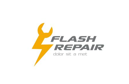 Quick Fast Flash Repair Logo design vector template.  Repairing tool as a flash shape logotype concept icon.