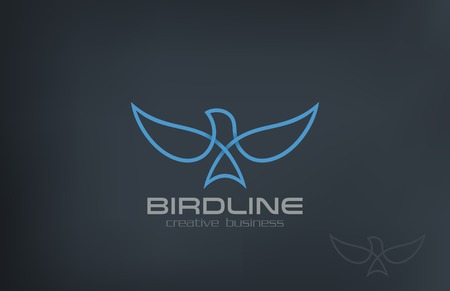 Abstract Flying Soaring Bird Logo design vector template.