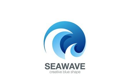 물 파도 로고 디자인 벡터 템플릿입니다. 크리 에이 티브 추상적 인 원형 로고 타입 개념 아이콘입니다. 일러스트