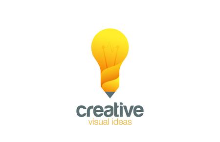 lamp power: Lamp & Pencil Logo Creative idea symbol vector template.  Bright ideas for your business. Design studio logotype concept icon. Illustration