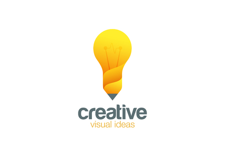 Lamp & Pencil Logo Creative idea symbol vector template.  Bright ideas for your business. Design studio logotype concept icon. Ilustracja