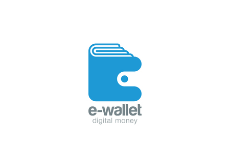 Wallet Logo design vector template negative space style.  Pocketbook logotype. Purse Portfolio icon. Digital money concept.
