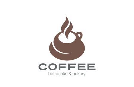 coffee: Coffee cup Logo design vector template.  Hot drink Tea Mug Logotype concept icon.