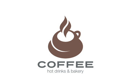 Coffee cup Logo design vector template.  Hot drink Tea Mug Logotype concept icon.