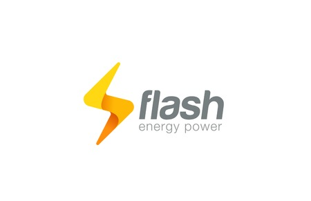 Lighting bolt Flash Logo design vector template.