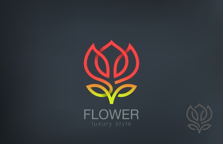 Abstract Flower Logo design vector template line art style.