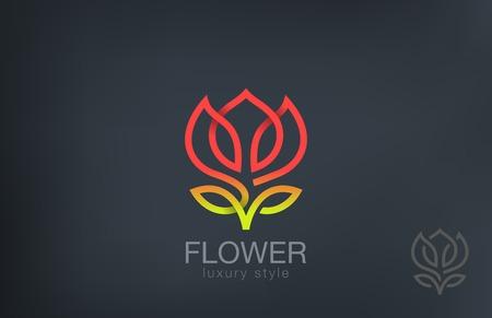 Abstract Flower Logo design vector template line art style. Luxury Cosmetics Trendy Concept logotype icon.