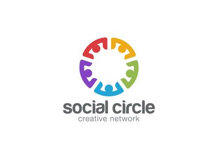 business group: Team Social network Logo design template.  Community Partnership Teamwork Logotype icon.