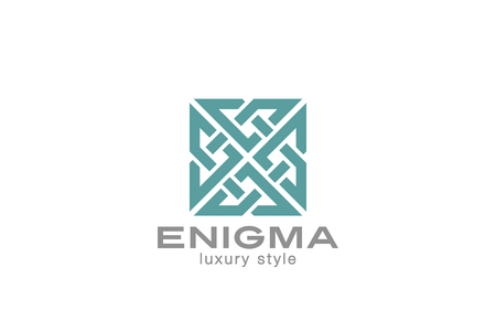 enigma: Square Enigma Rebus Maze Logo infinity loop design vector template.  Infinite Labyrinth Logotype luxury concept. Jewelry Looped icon.