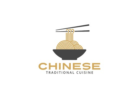 noodles: Chinese cuisine Logo noodles plate design vector template.  Asian food restaurant cafe Logotype concept icon.