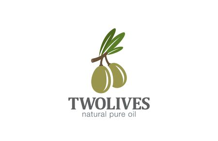 olive: Two Olives Logo design vector template.  Agriculture Farm Olive oil Logotype concept icon.