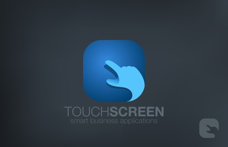 Logo Touch screen Hand finger design vector template.  Application Software technology logotype icon.