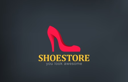 Logo Shoes store design vector template. Creative icon.  Logotype female shoe fashion footwear shop.
