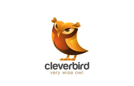 Funny Owl Logo design vector template. Wizdom Education Friendly Bird Logotype symbol icon.