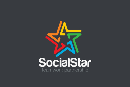 Social Logo design vector template. Five point star icon. People holding hands friendship, partnership, teamwork, community Logotype concept.