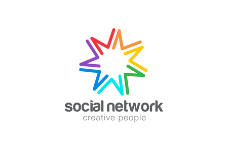 Social Logo ontwerp vector template. Zeven punt ster pictogram. Vriendschap, samenwerking, teamwork, community Logotype concept.