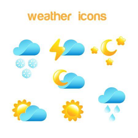 Weather icon vector design set . Meteorology elements: Cloud, Sun, Moon, Snow, Rain