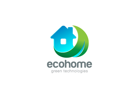friendly: Eco House Logo design vector template. Living in Green Nature Logotype concept. Real Estate icon.