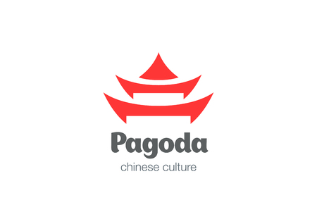 Pagoda Logo design vector template. Chinese Japanese Cultural Symbol Logotype cuisine concept icon