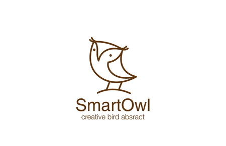 Funny Owl Logo design vector template linear style. Wizdom Education Friendly Bird Logotype symbol icon outline.