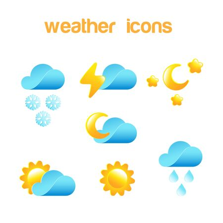 rain weather: Weather icon vector design set . Meteorology elements: Cloud, Sun, Moon, Snow, Rain