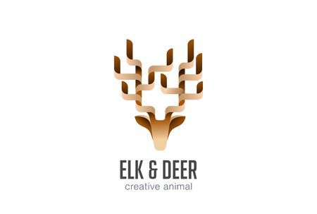 abstract animal: Head Elk Logo abstract geometric design vector template.  Deer Animal Logotype icon. Illustration