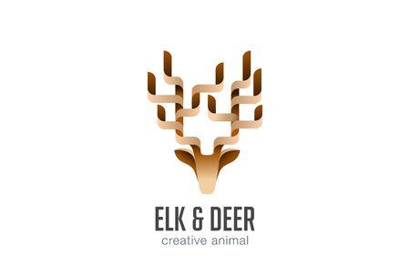 animal head: Head Elk Logo abstract geometric design vector template.  Deer Animal Logotype icon. Illustration