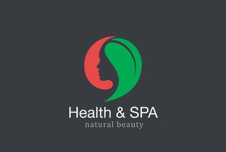 Vrouw Schoonheid Gezondheid & SPA Fashion Salon Logo praatje design vector template. Meisje Natuurlijke cosmetica make-up logo concept van groen verlof icoon. Stock Illustratie
