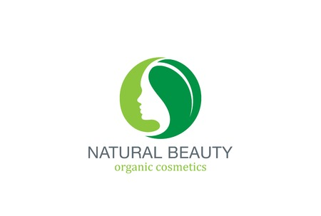 Woman Beauty SPA Fashion Salon Logo circle design vector template. Girl Female Natural Cosmetics make up logotype concept green leave icon. Ilustração