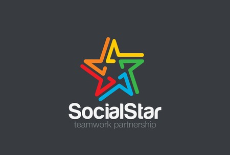 star logo: Social Logo design vector template. Five point star icon. People holding hands friendship, partnership, teamwork, community Logotype concept.