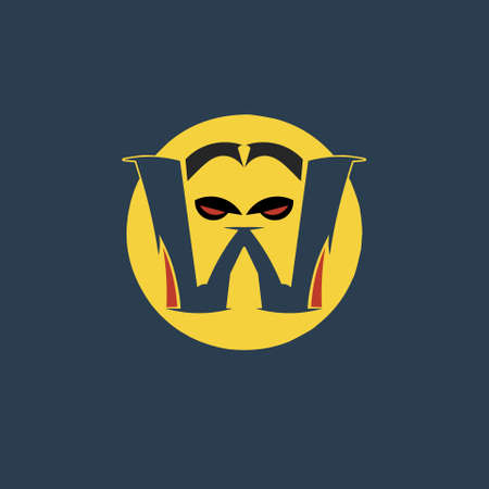 logo letter W which has a vampire character or a monster face. with a hellowen theme vector illustration