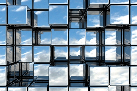 reflection in mirror: Cubic space Stock Photo