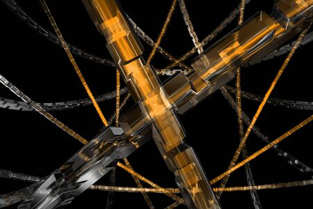 Golden cubic cog wheel available for background