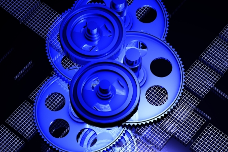 Abstract blue cogs gears on the dark backgroun