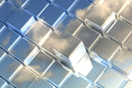 Abstract perspective cubic space available for background Stock Photo - 14383014